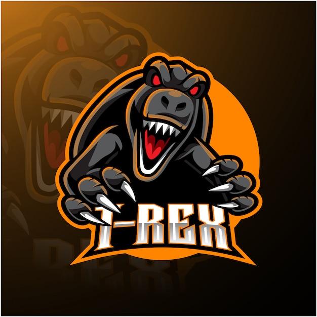 Logotipo da mascote t-rex esport Vetor Premium