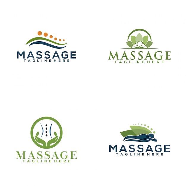 Logotipo da massagem Vetor Premium