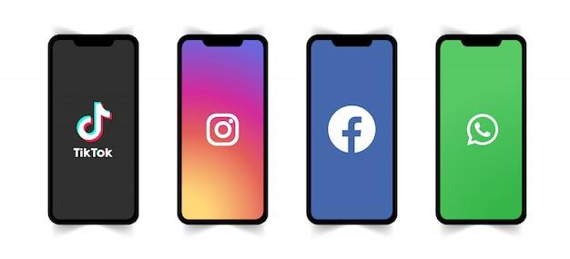 Logotipo da mídia social na tela do telefone. Vetor Premium