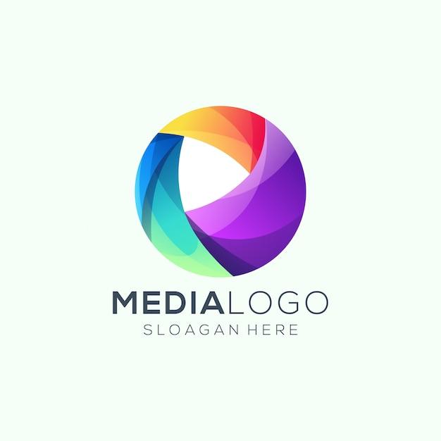 Logotipo da mídia Vetor Premium