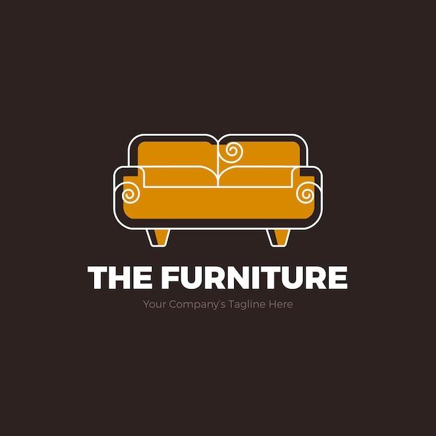 Logotipo da mobília com sofá Vetor Premium
