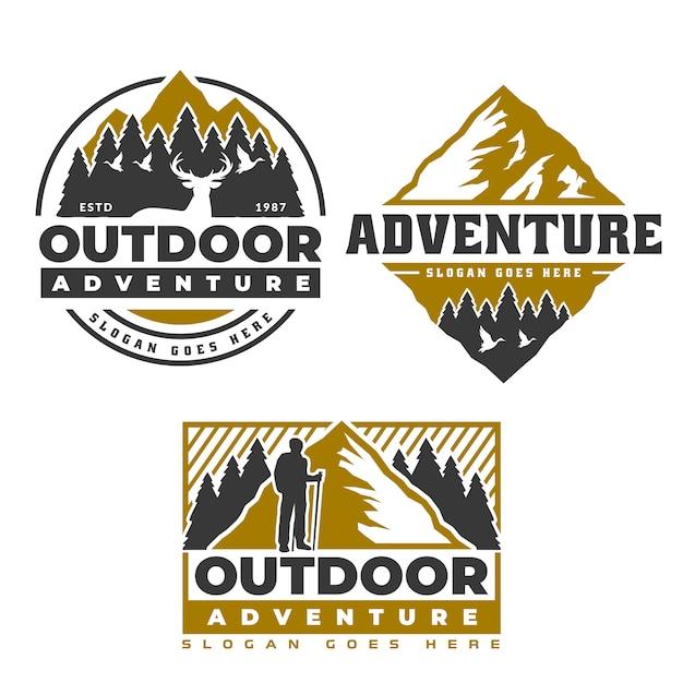 Logotipo da montanha, camping e caminhadas design de emblema, vida de aventura Vetor Premium