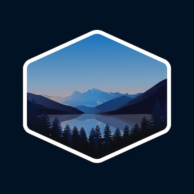 Logotipo da montanha Vetor Premium
