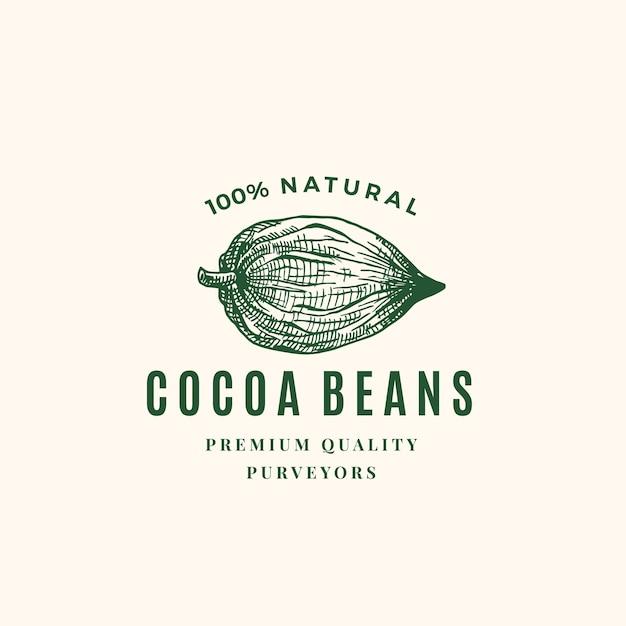 Logotipo da natural cocoa beans Vetor grátis
