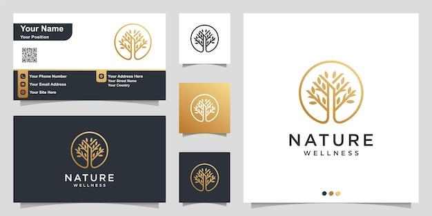 Logotipo da natureza com conceito simples de árvore dourada e cartão de visita Vetor Premium