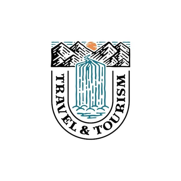 Logotipo da natureza em forma da letra t. logotipo da montanha com cascata. Vetor Premium