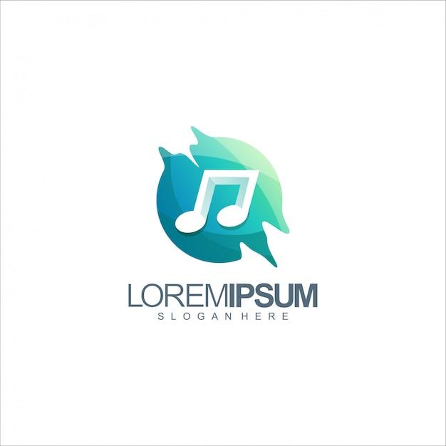 Logotipo da nota de música Vetor Premium