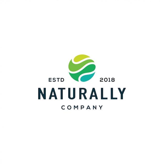 Logotipo da onda da natureza Vetor Premium