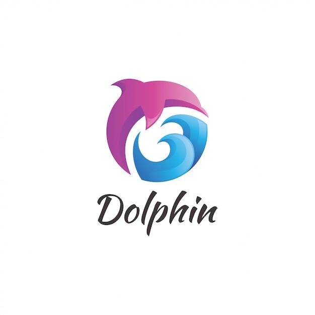 Logotipo da onda de água do golfinho Vetor Premium