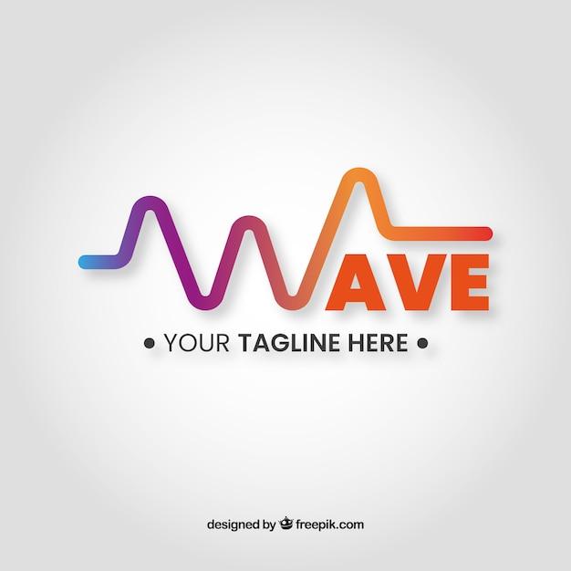 Logotipo da onda sonora com design plano Vetor grátis