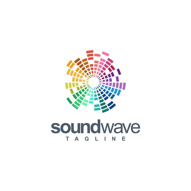 Logotipo da onda sonora Vetor Premium