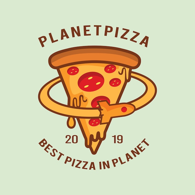 Logotipo da pizza do planeta Vetor Premium