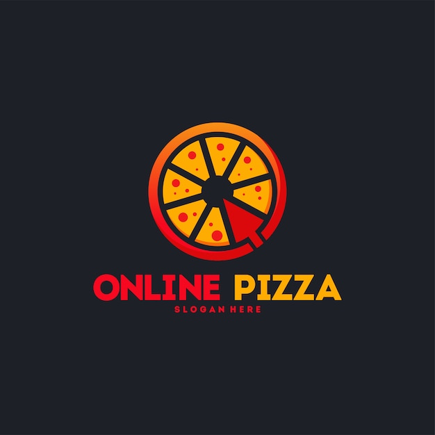 Logotipo da pizza online Vetor Premium