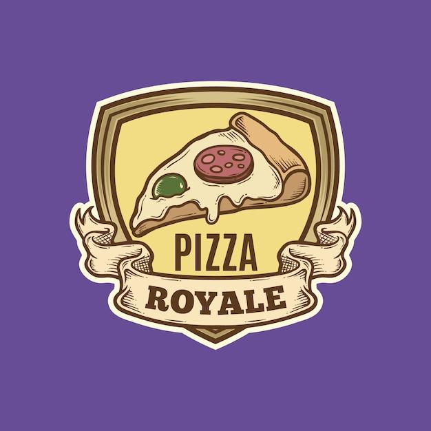 Logotipo da pizza vintage Vetor Premium