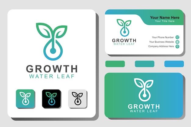 Logotipo da planta de crescimento moderno. linha de jardim gota d'água com modelo de conceito de logotipo de folha Vetor Premium