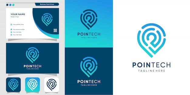 Logotipo da pointech com estilo de arte linha e modelo de design de cartão de visita, moderno, tecnologia, computador, ícone Vetor Premium
