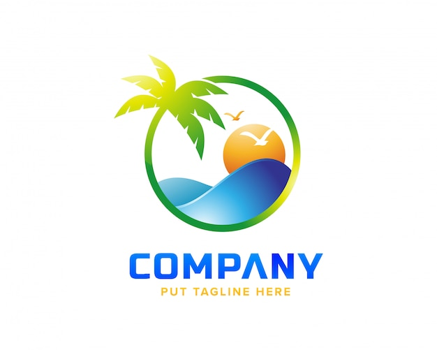 Logotipo da praia criativa Vetor Premium