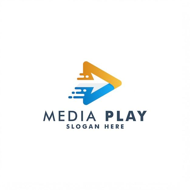 Logotipo da reprodução de mídia Vetor Premium
