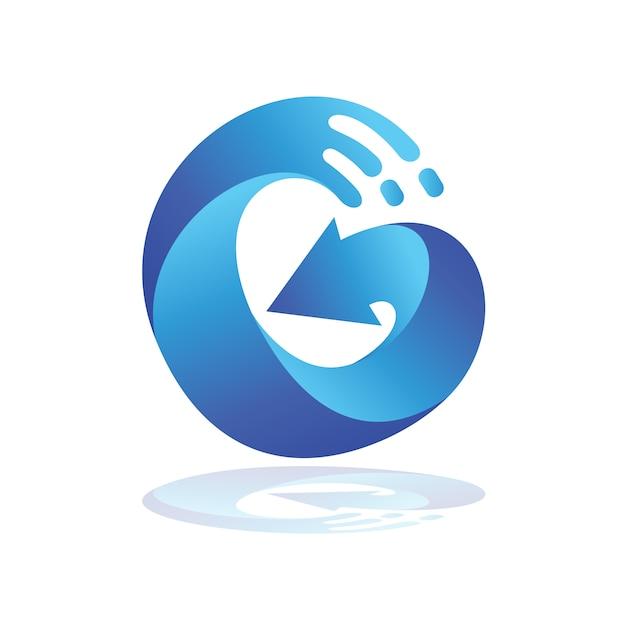 Logotipo da seta da letra g da onda, logotipo inicial de g Vetor Premium