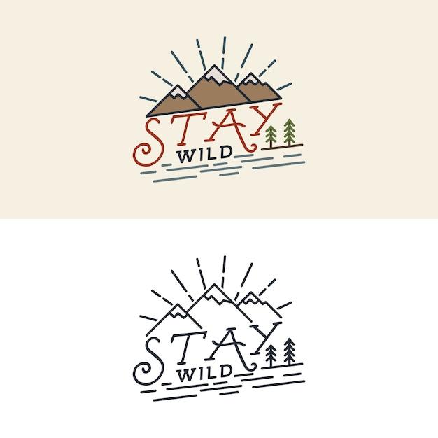 Logotipo da stay wild Vetor Premium