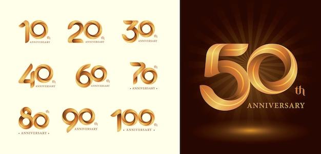 Logotipo da twist ribbons, letras numéricas estilizadas de origami, logotipo de aniversário Vetor Premium