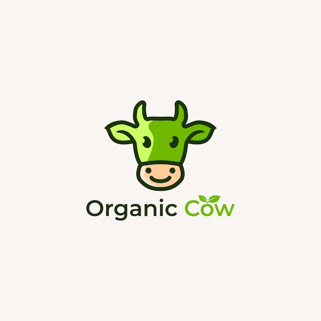 Logotipo da vaca orgânica Vetor Premium