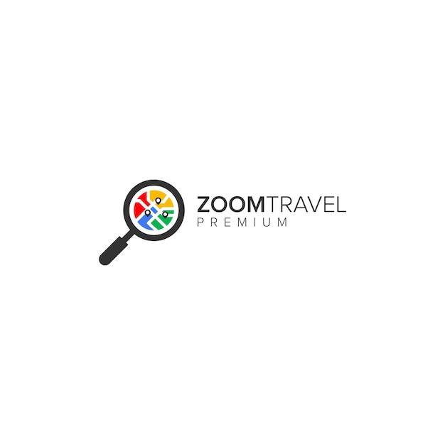 Logotipo da zoom travel Vetor Premium