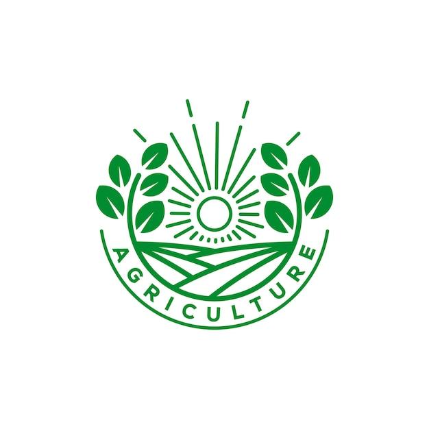 Logotipo de agricultura e fazenda orgânica Vetor Premium