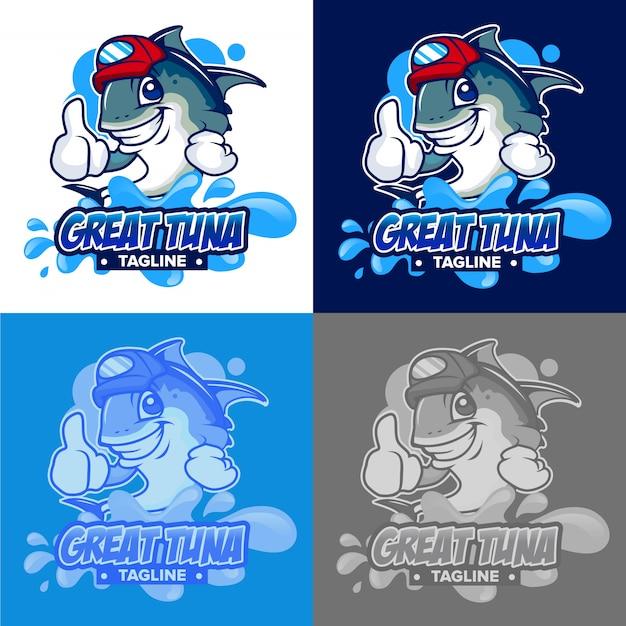 Logotipo de água dos desenhos animados de atum Vetor Premium