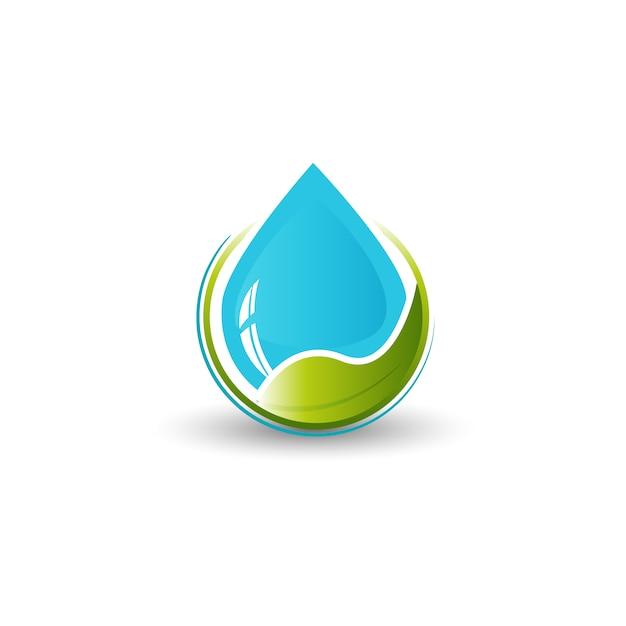Logotipo de água e folha Vetor Premium