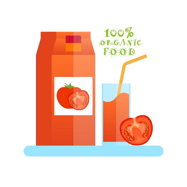 Logotipo de alimentos orgânicos com copo de suco de tomate isolado Vetor Premium
