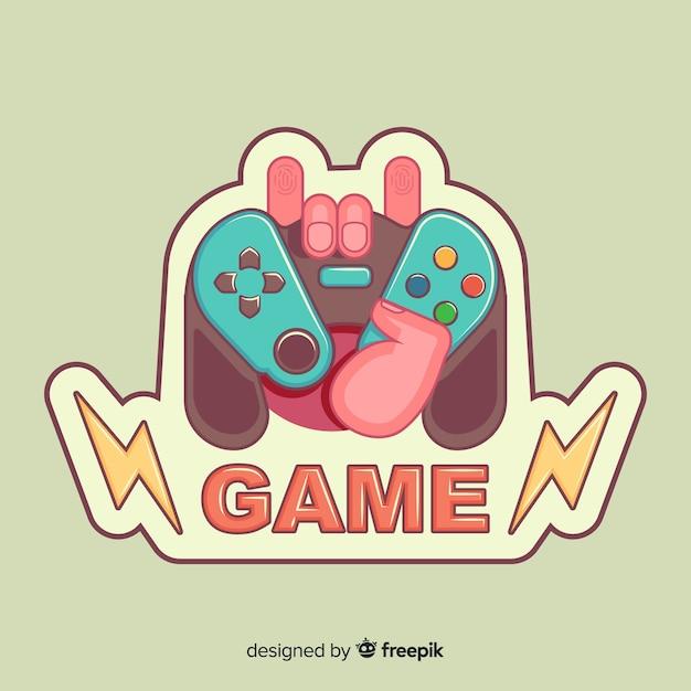 Logotipo de almofada de jogo desenhado de mão Vetor grátis