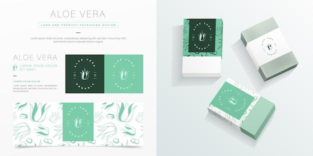 Logotipo de aloe vera e modelo de design de embalagem. maquete de pacote de sabão orgânico. Vetor Premium