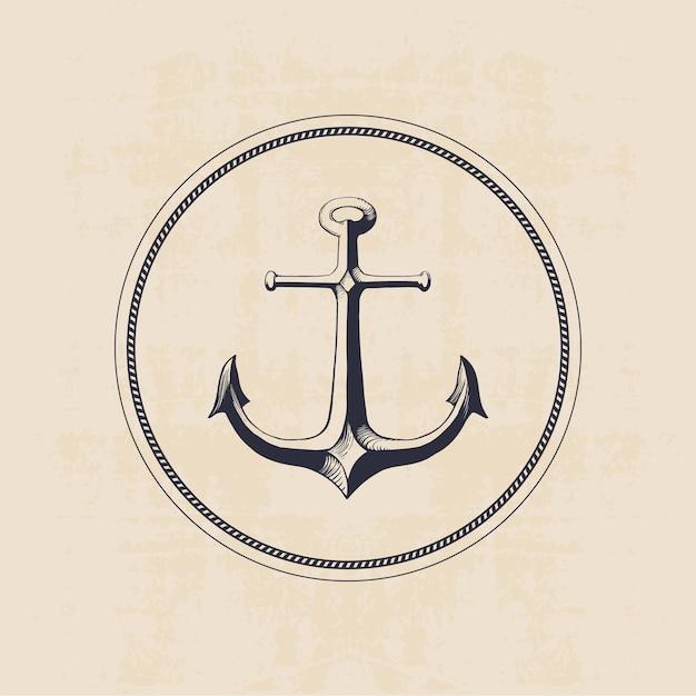 Logotipo de âncora em círculo, mão ilustrações desenhadas Vetor Premium