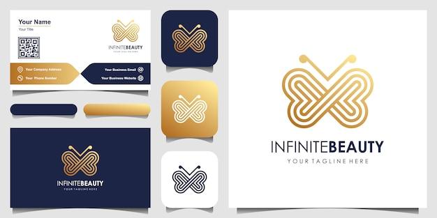Logotipo de arte linha minimalista borboleta dourada Vetor Premium
