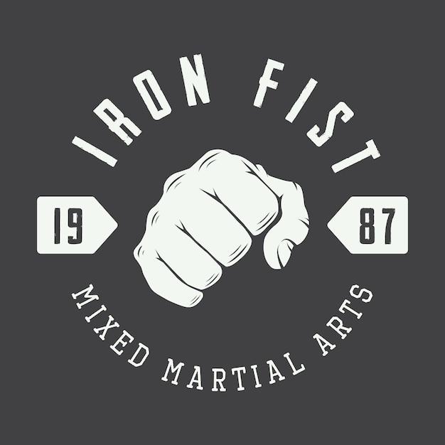 Logotipo de artes marciais, crachá Vetor Premium