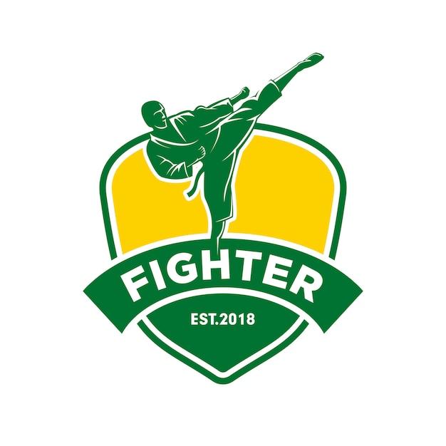 Logotipo de artes marciais de lutador Vetor Premium