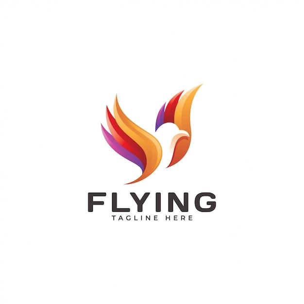 Logotipo de asa de pássaro voador multicolorido Vetor Premium