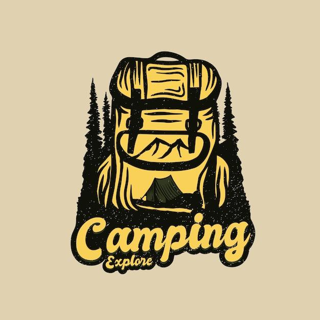 Logotipo de aventura de mochila de acampamento Vetor Premium