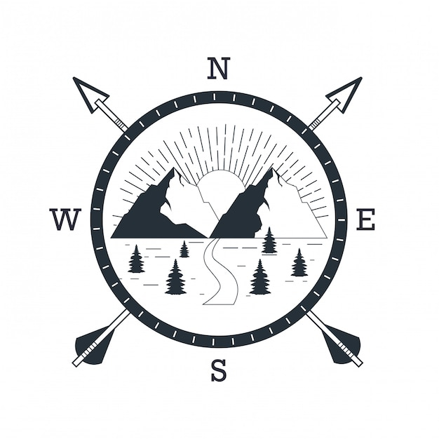 Logotipo de aventura de montanha Vetor Premium