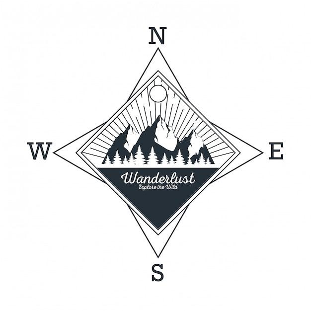 Logotipo de aventura wanderlust Vetor Premium