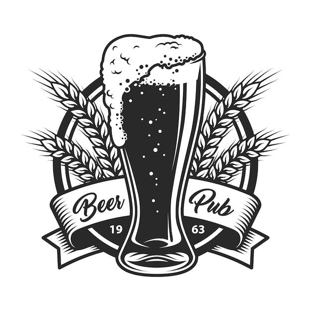 Logotipo de bar vintage cerveja monocromática Vetor grátis