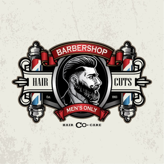 Logotipo de barbearia vintage Vetor Premium