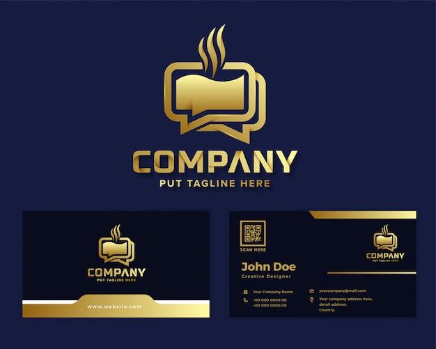 Logotipo de bate-papo de café de luxo premium para empresa de negócios Vetor Premium