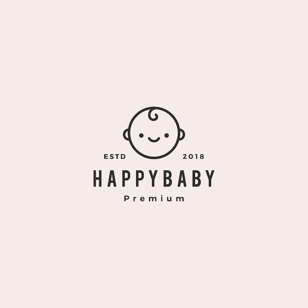 Logotipo de bebês bebê criança feliz Vetor Premium
