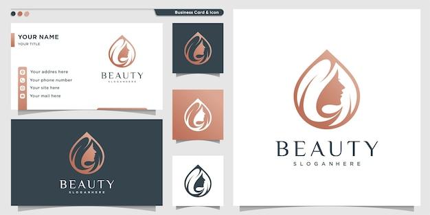 Logotipo de beleza para mulher com conceito moderno e cartão de visita Vetor Premium