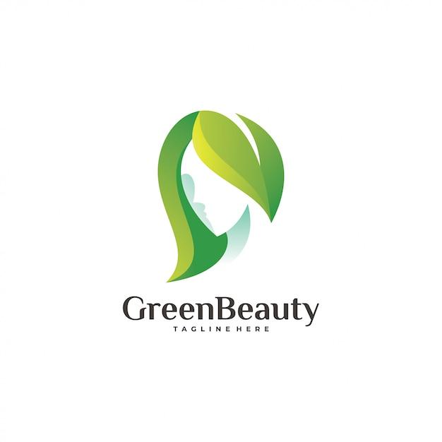 Logotipo de beleza verde Vetor Premium