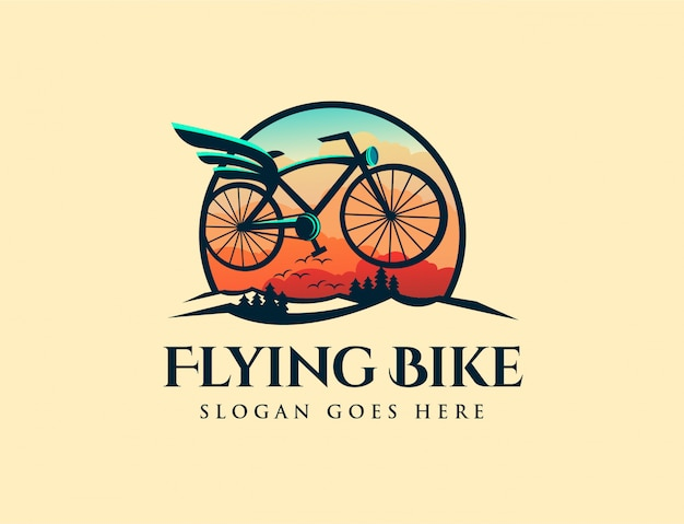 Logotipo de bicicleta voadora retrô vintage Vetor Premium