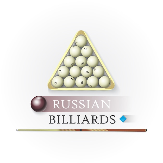 Logotipo de bilhar russo Vetor Premium