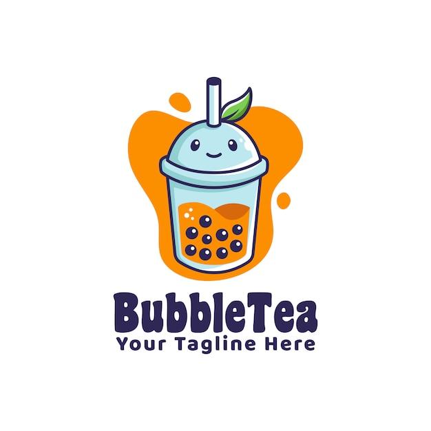 Logotipo de bolha bebida chá com logotipo de mascote de personagem de desenho animado ilustração de folha Vetor Premium